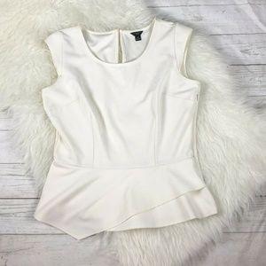 Ann Taylor Petite White Blouse Size Medium Petite